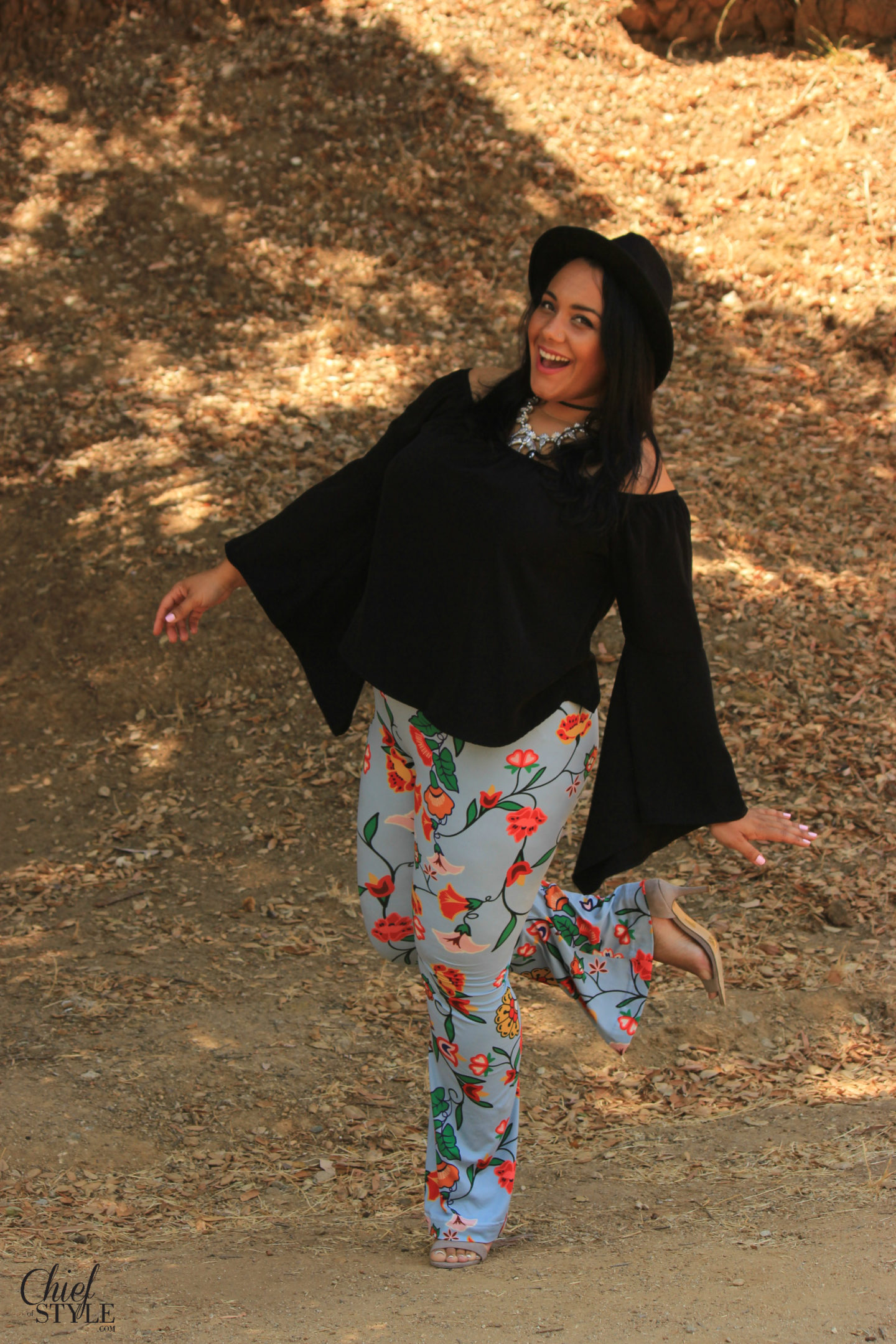 Amy Stretten wearing Native American fashion designer, Bethany Yellowtail's, original designs