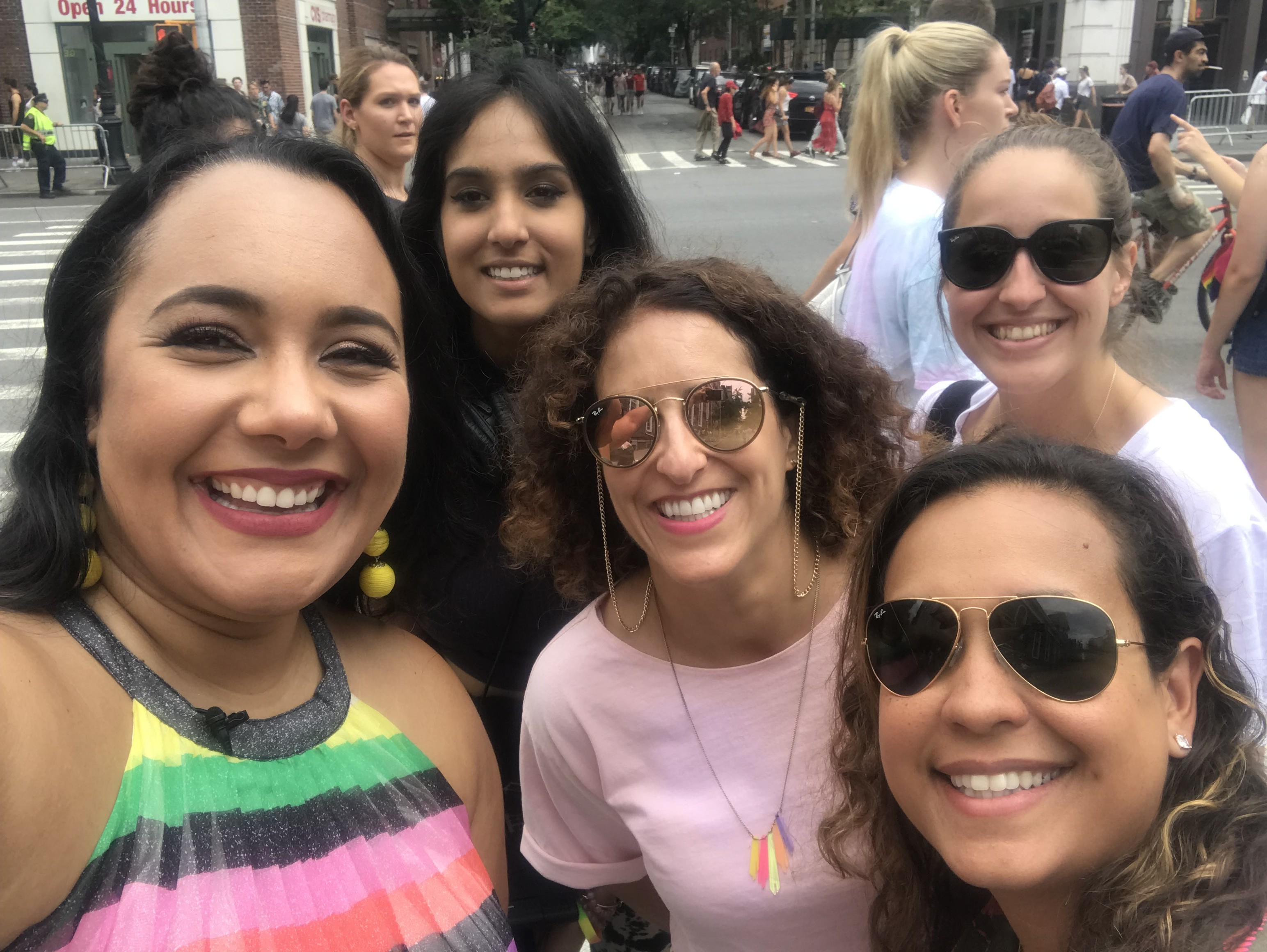 Amy Stretten, The Chief of Style, at NYC Pride 2018 with Mic for Dove
