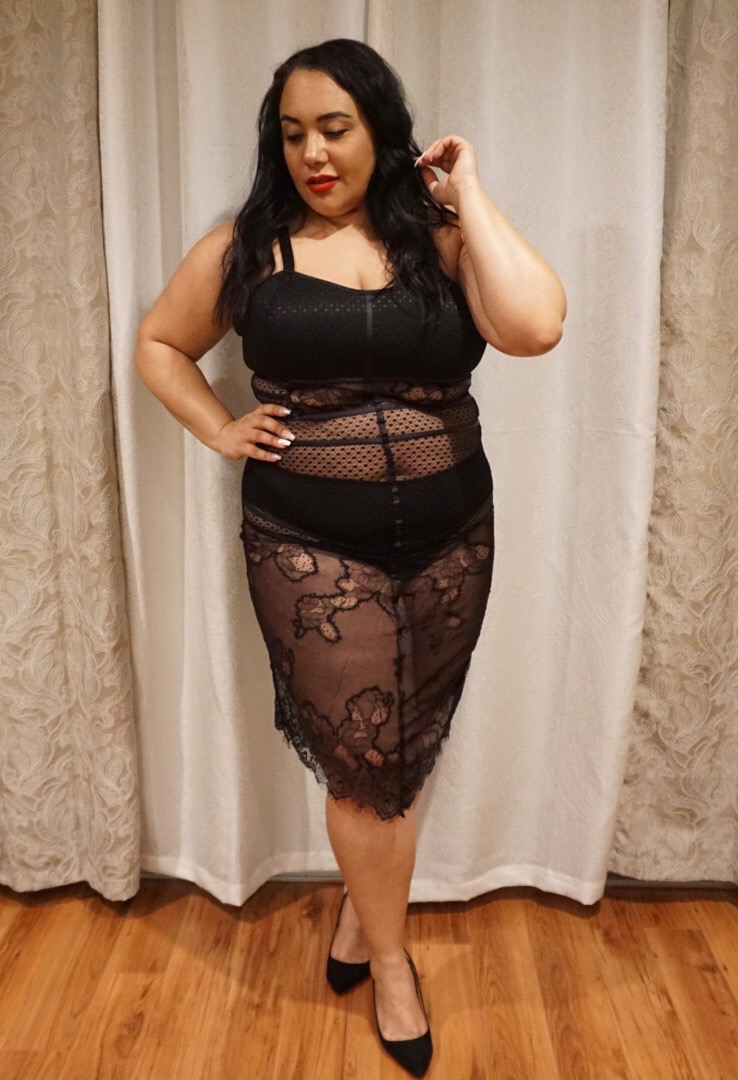 """Amy Stretten, The Chief of Style wearing the """"Bad Intentions"""" lingerie gown by Yandy"""