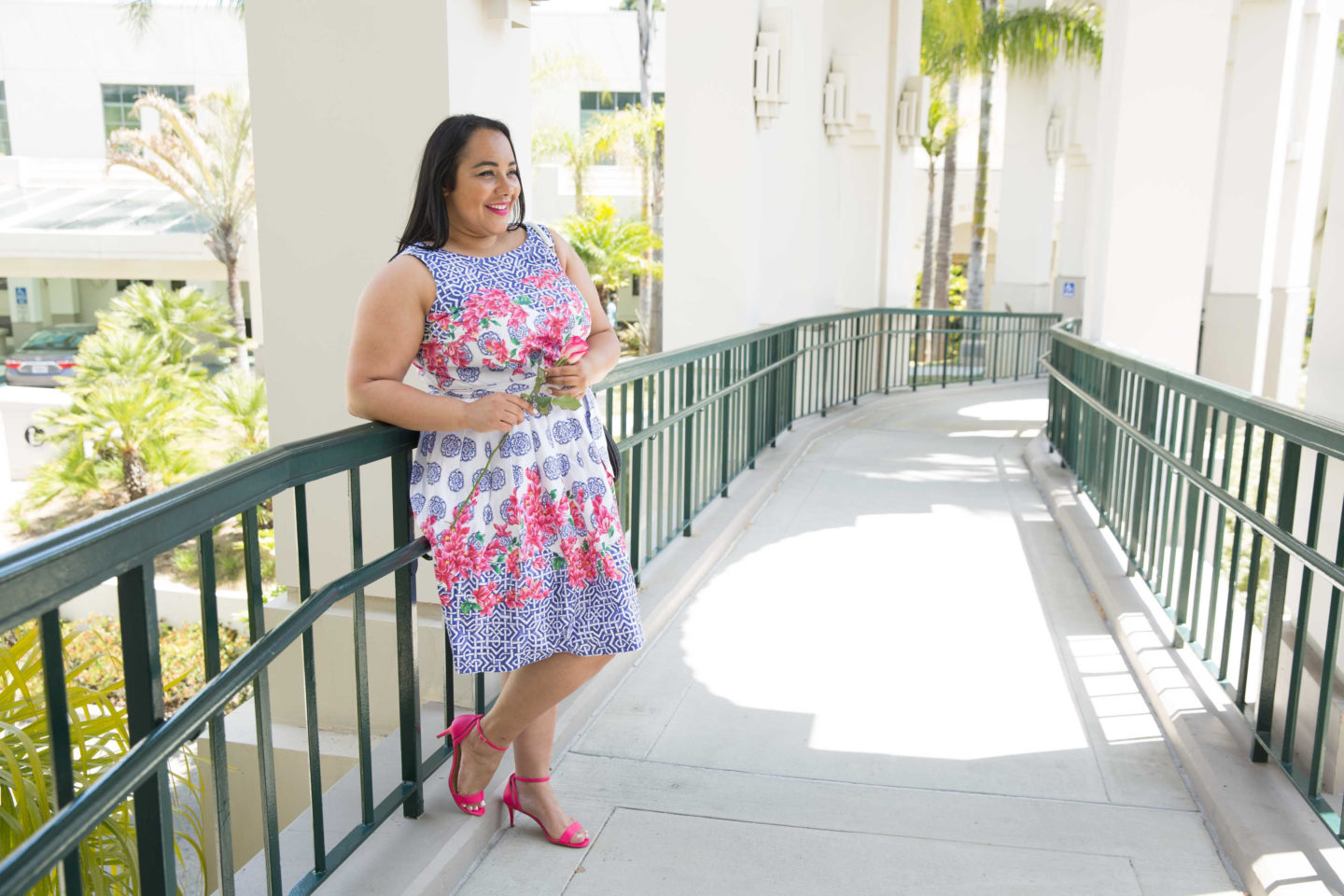 Amy Stretten, The Chief of Style at Beverly Hills City Hall wearing a spring mosaic dress by Talbots.