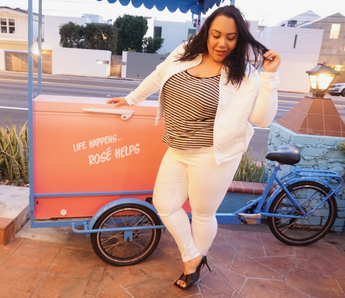 Amy Stretten, The Chief of Style, wearing fashion forward plus size pieces from the Lane Bryant and Cacique online only Resort Collection
