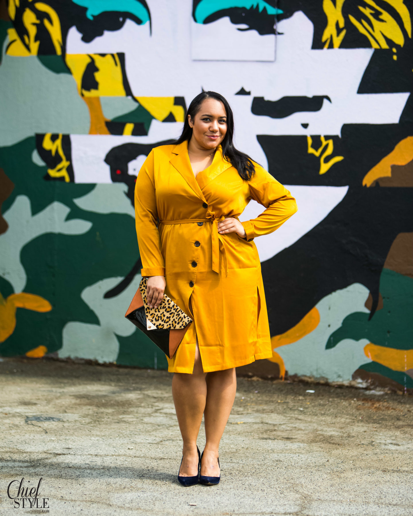 New plus size clothing brand Premme Sol Trench Coat Dress
