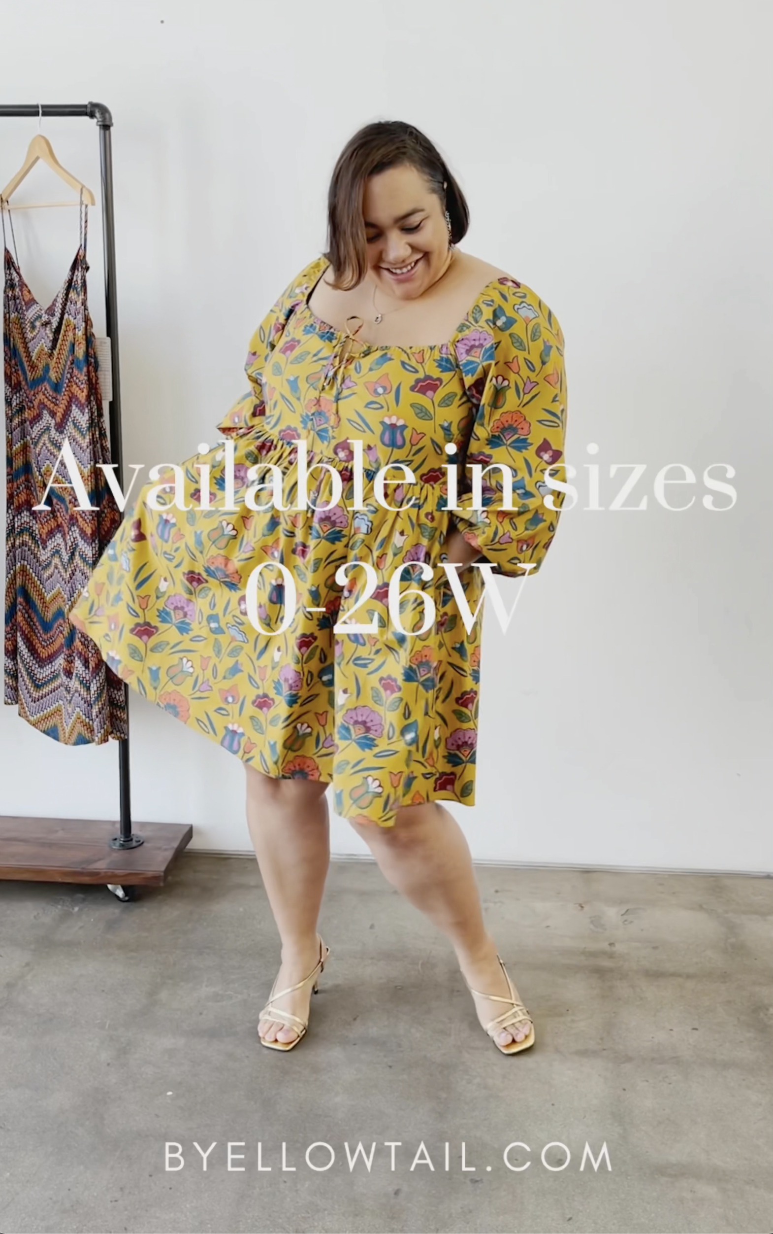 The Chief of Style, Amy Stretten, wearing Native American fashion designer, Bethany Yellowtail's Summer 2021 collection, featuring extended sizes size 0 to plus size 26
